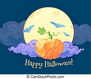 Bright orange pumpkin with violet curly cloud blue bats silhouettes and Happy Halloween sign on yellow moon at dark  background