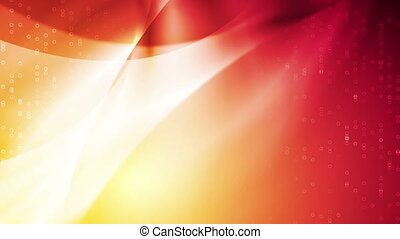 Bright orange red abstract curved waves video animation -...