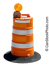 Bright orange road barrel isolated on white