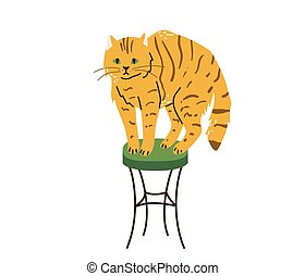 Bright orange tabby cat with green eyes standing on chair. Cats like to climb higher. Vector illustration in simple cartoon flat style. Isolated on white background