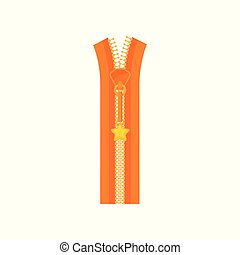 Bright orange zip fastener plastic teeth and small golden star on puller. Open zipper for women dress. Flat vector icon