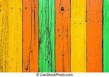 bright paint on rustic wood