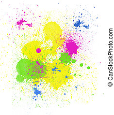 Background of colorful paint spatter and drips