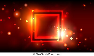 Bright party background, abstract glowing sparkling golden frame on dark red background, square place for text, vector