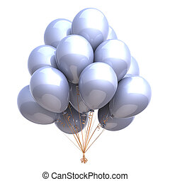 bright party balloons bunch white glossy
