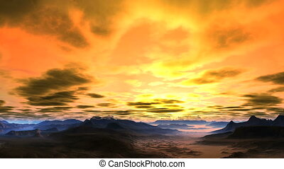 Bright, Passionate Sunset - Bright sun floods the sky with...