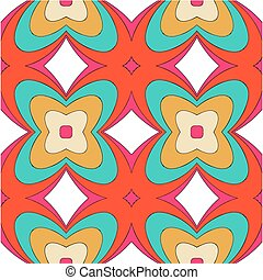 bright pattern in style of the fifties red, orange and neon...
