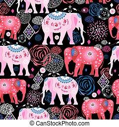 Bright pattern of beautiful elephants