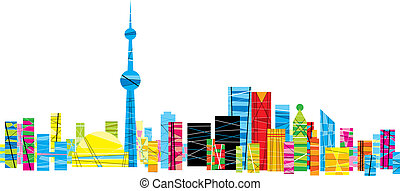 Bright Pattern Toronto - A bright, patterned skyline of the...
