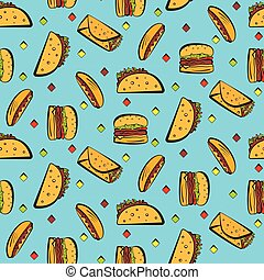 Bright pattern with colorful fastfood on blue