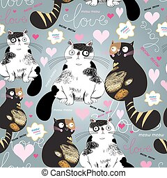 bright pattern with enamored cats