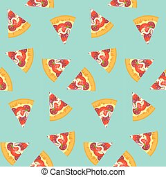 Bright pattern with sliced pizza on blue