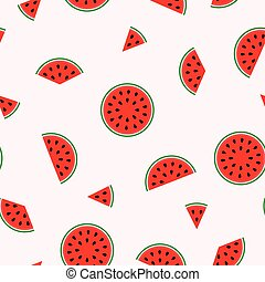 Bright pattern with slices of watermelon - seamless.