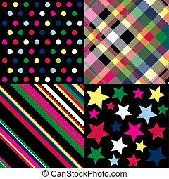 Bright patterns on black
