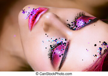 bright pearly shadows - Make-up and cosmetics concept....