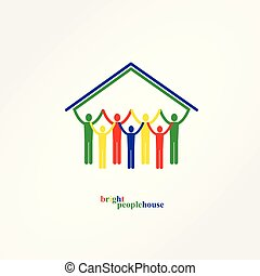 Bright People in the House, Vector illustration.
