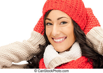 bright picture of beautiful woman in hat, muffler and...