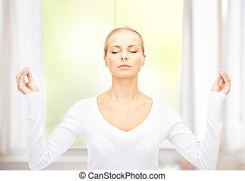 beautiful woman in meditation