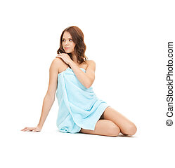 beautiful woman in towel