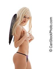 black lingerie angel girl