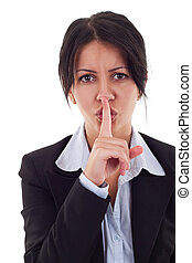 business woman with finger on lips