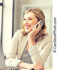 businesswoman with cell phone - bright picture of ...