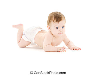 crawling baby boy - bright picture of crawling baby boy in...