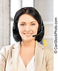 friendly female helpline operator - bright picture of ...