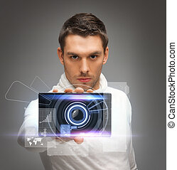 futuristic man with gadget - bright picture of futuristic...