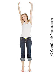 bright picture of happy and carefree teenage girl in jeans over white