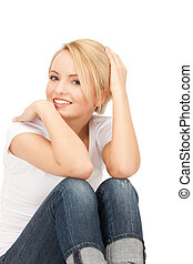 happy and carefree teenage girl - bright picture of happy...