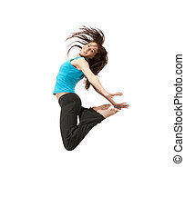 jumping sporty girl - bright picture of happy jumping sporty...