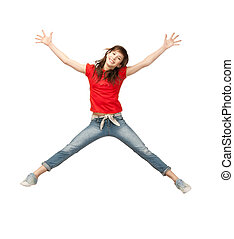 jumping teenage girl