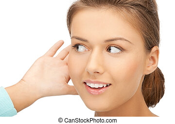 happy woman listening gossip - bright picture of happy woman...
