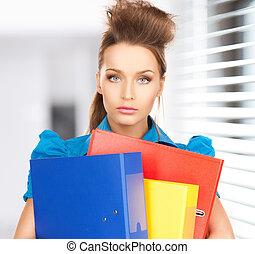 happy woman with folders