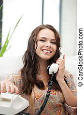 happy woman with phone