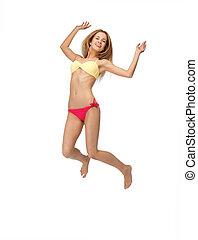 picture of jumping woman in bikini