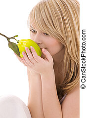 bright picture of lovely blonde with lemon