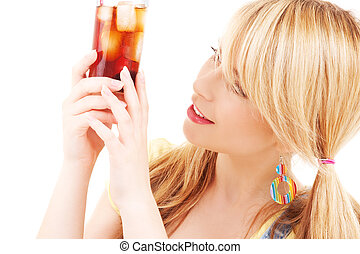 drink - bright picture of lovely girl with glass of drink
