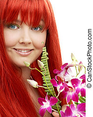 lovely redhead with orchid