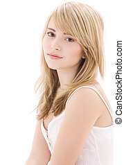 bright picture of lovely teenage girl in white cotton shirt