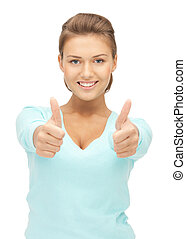 thumbs up - bright picture of lovely teenage girl with...