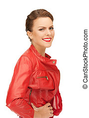 609983cc0 Bright picture of lovely woman in red leather jacket.