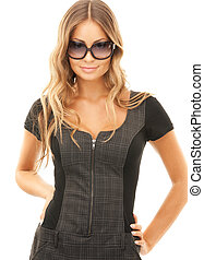 lovely woman in shades - bright picture of lovely woman in ...