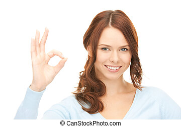 woman showing ok sign