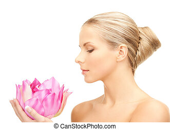 lovely woman with lotus flower - bright picture of lovely ...