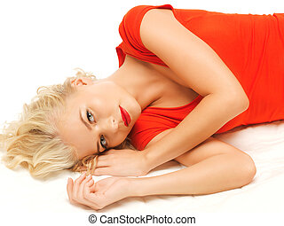 lying pensive beautiful woman