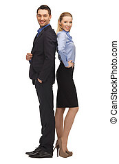 bright picture of man and woman in formal clothes.