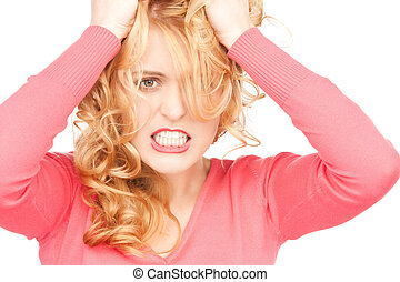 unhappy woman - bright picture of unhappy woman over white