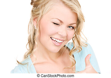 winking woman - bright picture of winking woman over white